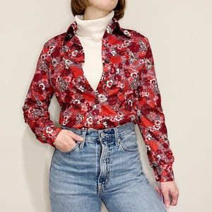 Vintage Button Up Red Floral Psychedelic 70's M